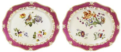 A pair of impressive Staffordshire platters, mid 19th century