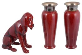 A Royal Doulton flambe figurine of a blood hound HN176