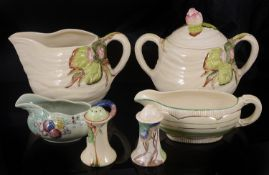 A small collection of assorted Clarice Cliff pottery