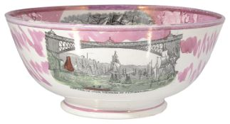 A Sunderland lustre bowl, mid 19th century