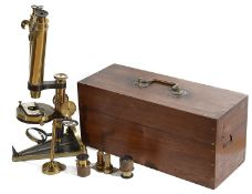 A mahogany cased R & J Beck brass and black painted binocular microscope, late 19th century