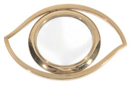An Hermes style Cleopatra eye desk magnifying glass in the form of an eye