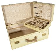 A Finnigans of Bond Street London vellum travelling suitcase and vanity case, early 20th century