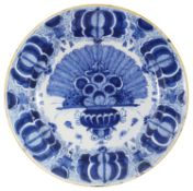 A Dutch delft blue and white 'Peacock' pattern charger