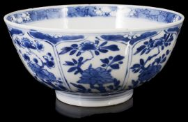 A Chinese Kangxi blue and white porcelain bowl