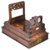 A Victorian Lennie of Edinburgh walnut table top stereoscope,
