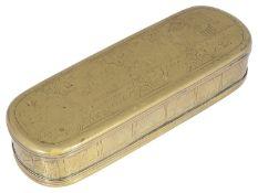 An 18th century brass tobacco box