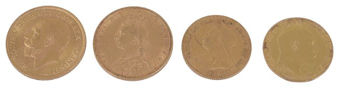 A Victorian gold sovereign, a George V sovereign and two half sovereigns