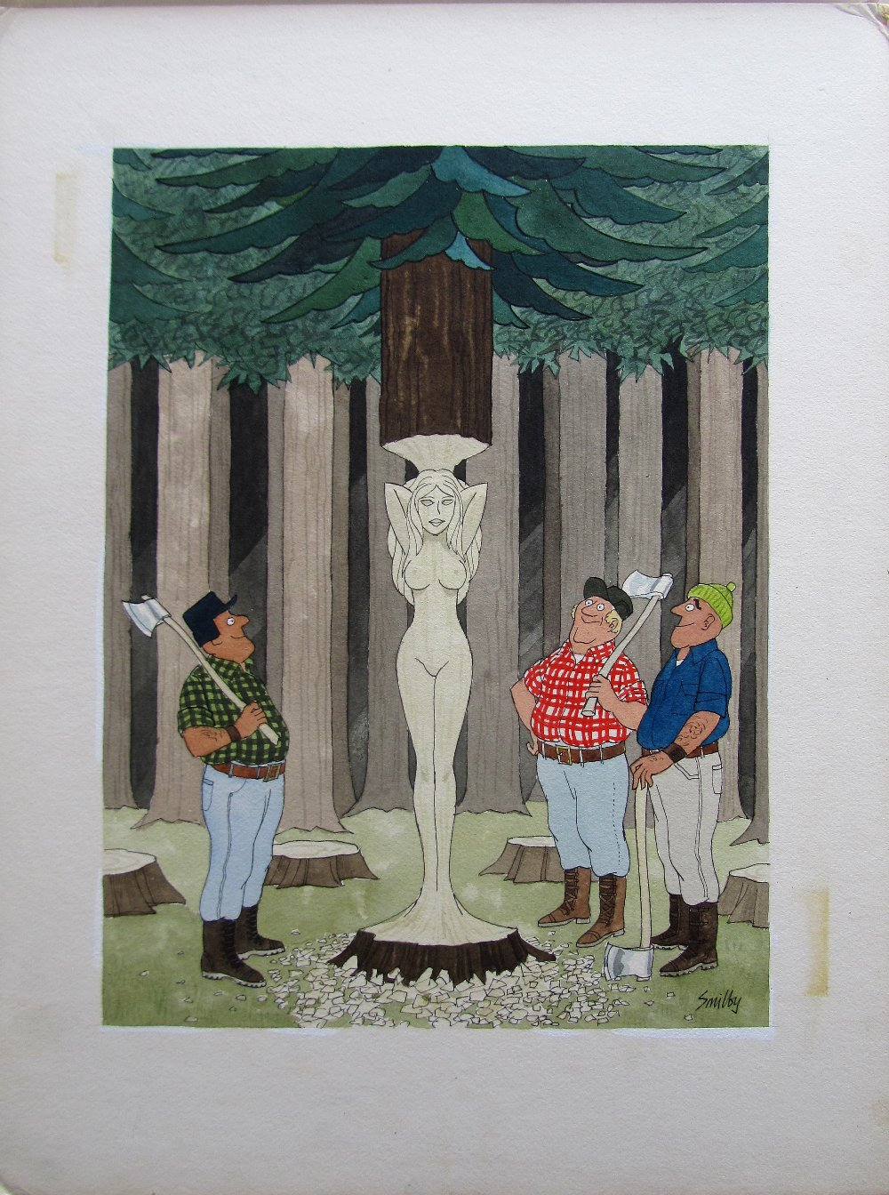 Lot 10 - Smilby, Francis Wilford-Smith 'Tree carvers' uncaptioned cartoon artwork for Pardon Magazin Germany