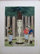 Smilby, Francis Wilford-Smith 'Tree carvers' uncaptioned cartoon artwork for Pardon Magazin Germany