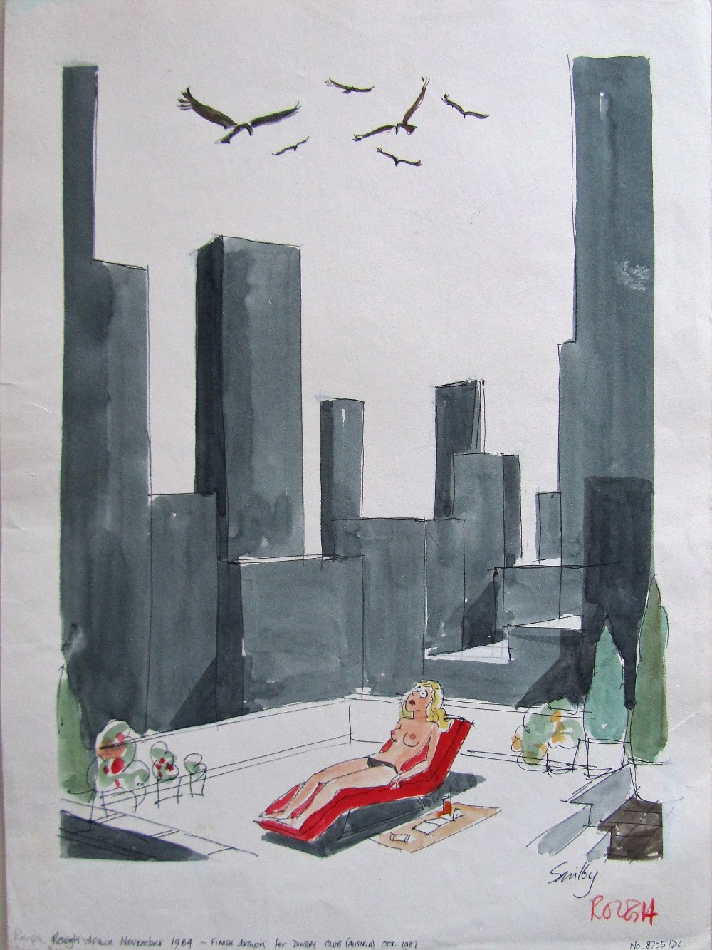 Lot 51 - Smilby, Francis Wilford-Smith 'Vultures and Lady sunbathing on rooftop'