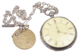 A Vict. silver open faced pocket watch, hallmarked London 1885