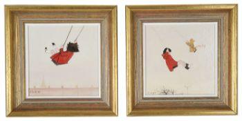 """Janet Ledger (Brit., b.1934) """"Swings"""", """"Swings II"""" oil on board (2)"""