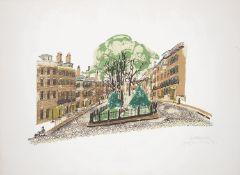 """Paul Hogarth (Brit1917-01) """"Louisburg Sq, Boston"""" lithograph (2)"""