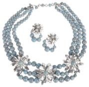 1958 Christian Dior designer turquoise glass bead festoon necklace
