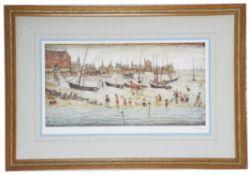 "Laurence S Lowry, RBA, RA (Brit.1887-76) ""The Beach, Deal"" print (2)"