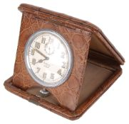 A Mappin and Webb leather cased folding travel clock