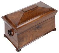 A Vict. rosewood sarcophagus tea caddy,