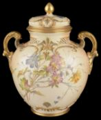 A Royal Worcester blush ivory jar and cover, circa 1890
