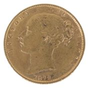 A Queen Victoria 1872 gold full sovereign, die number 111