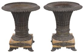 A pair of Fr. bronze urns in the Gothic taste, circa 1820 (2)