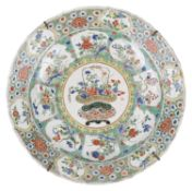 A large Chinese Kangxi famille verte charger of lobed form