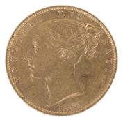 A Queen Victoria 1863 gold full sovereign, die number 19