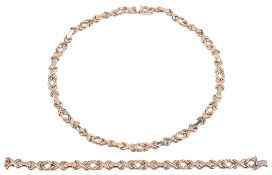 A Continental 9ct gold fancy link necklace and matching bracelet(2)
