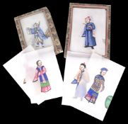 Two sets of 19th c. Chinese rice paper paintings