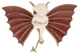 W.H. Goss china devil mounted on carved wooden bat wings;one other(2)
