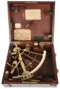 An 8 1/2-inch brass lattice sextant by Lorieux A. Hurlimann, Paris