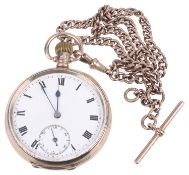 A 9ct gold open faced pocket watch, with 9ct rose gold watch chain(2)