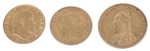 A Queen Victoria 1890 gold full sovereign, Sydney Mint(3)