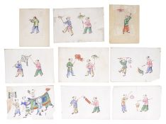 Another set of 19th c. Chinese rice paper paintings(9)