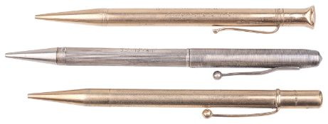 A 9ct gold cased pencil, a silver cased pencil; other(3)