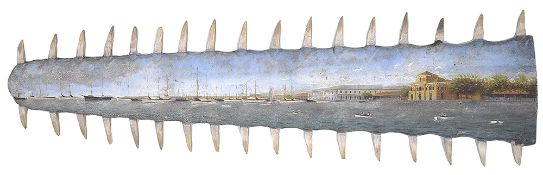 A late 19th c. hand painted sawfish rostrum
