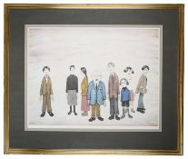 """Laurence S Lowry, RBA, RA (Brit.1887-1976) """"His Family"""" signed print"""