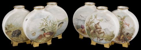 Pair of Royal Worcester aesthetic movement triple moon flasks c1880(2)