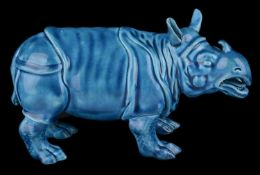 A Royal Worcester turquoise majolica model of a Rhinoceros, c1880