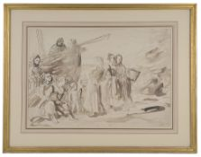 "Augustus Edwin John OM RA (Brit. 1878-1961)""Fishergirls at Equihen""(2)"