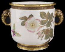 A Royal Worcester twin handled jardiniere, circa 1882