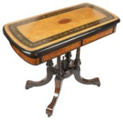 A Vict. burr walnut and ebonised card table