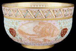A Royal Worcester cabinet reticulated bowl attributed to George Owen