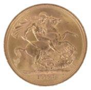 A Queen Elizabeth II 1957 gold full sovereign