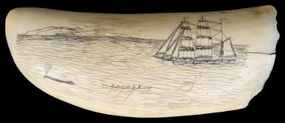 A 19th c. scrimshawed-decorated whale's tooth
