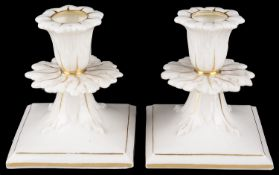 Graingers Worcester glazed parianware dwarf candlesticks, 19th c. (2)