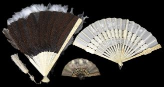 Two Cantonese ivory fans and another(3)