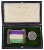 A rare silver suffragette Hunger Strike medal & archive re Kate Evans