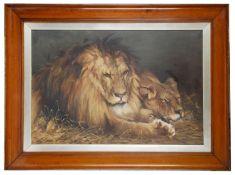 L Dixon (Brit.) 'Lion, Sleeping Lioness',after 19c.Geza Vastagh(Hung.)