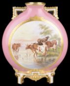 A Royal Worcester twin handled moon flask